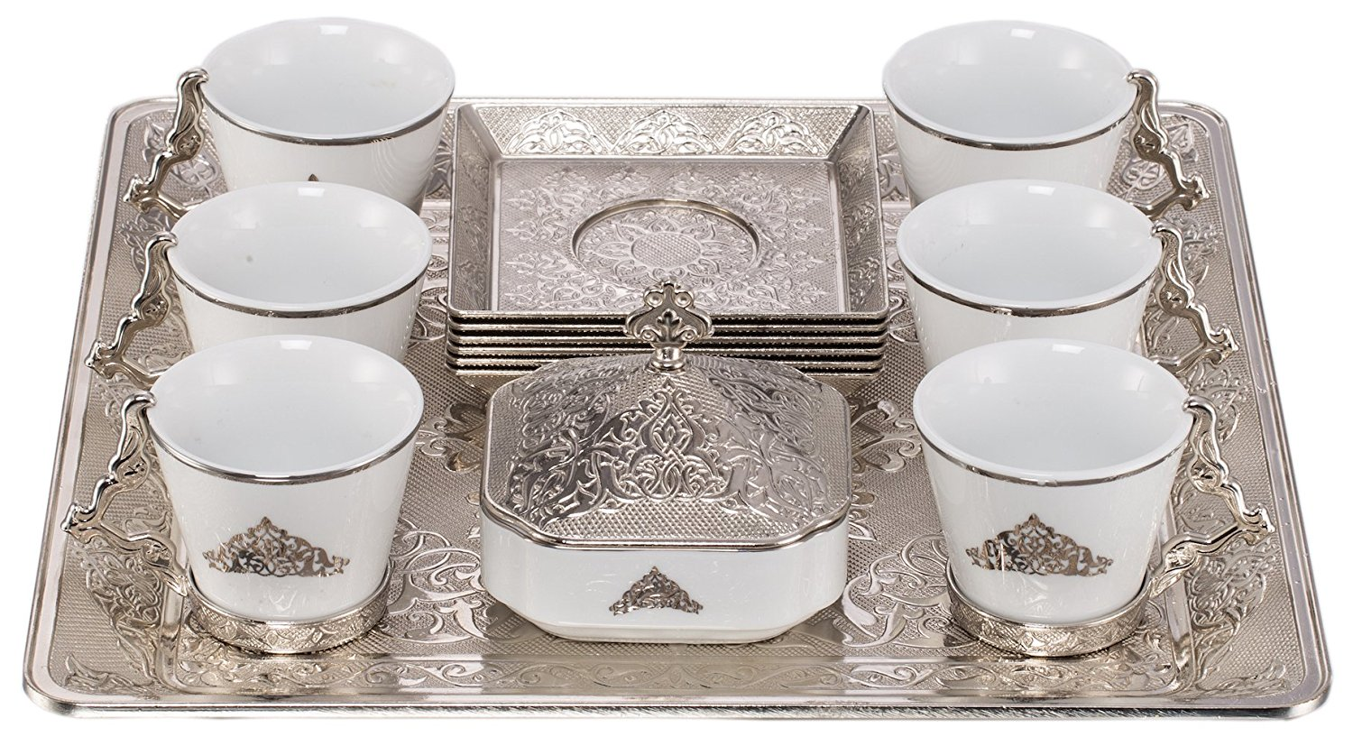 Ottoman Arabic Cup with Square Tray